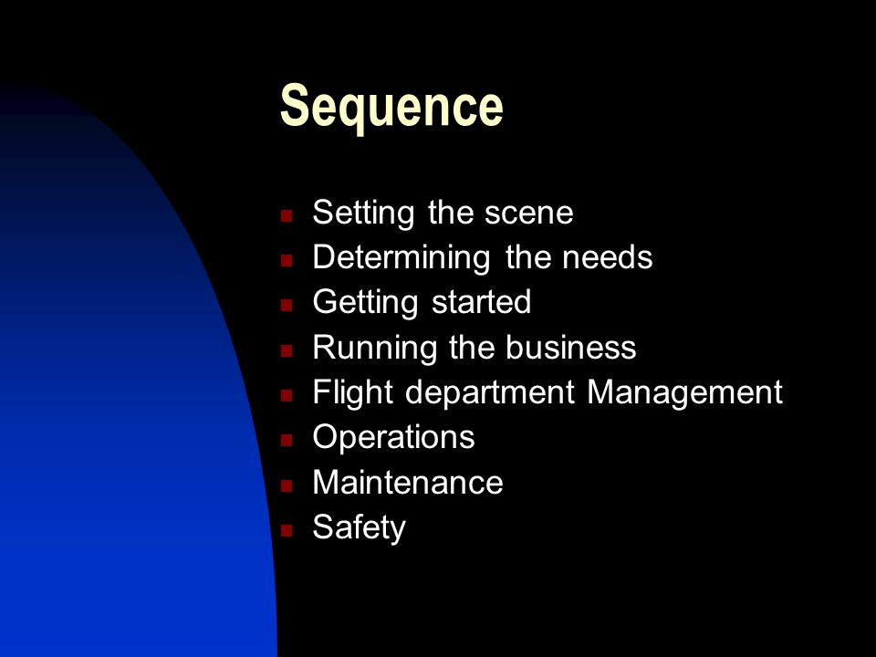 Sequence Setting the scene Determining the needs Getting started