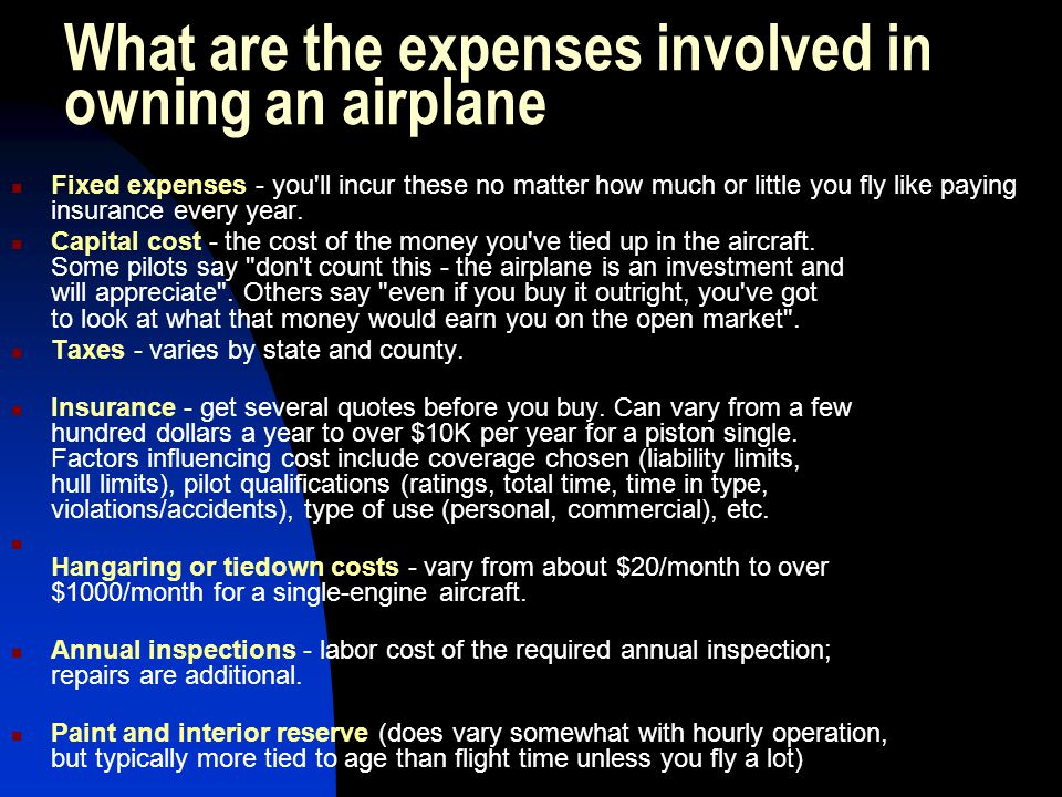 What are the expenses involved in owning an airplane