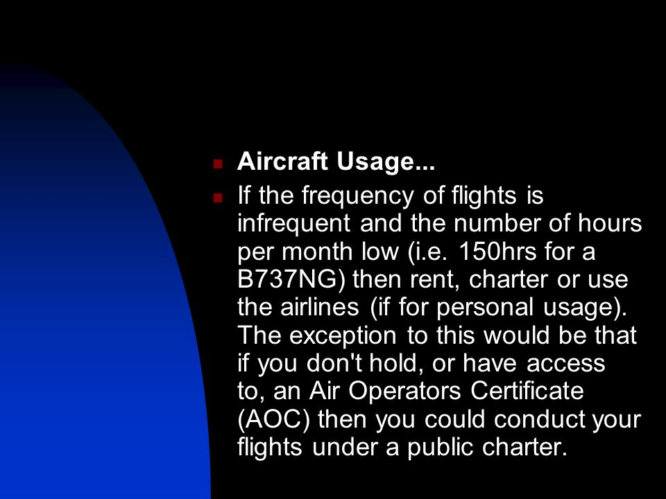 Aircraft Usage...