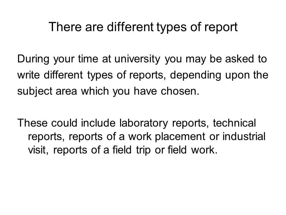 Four Types of Report Formats