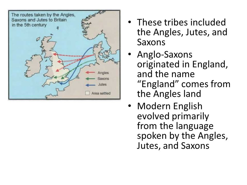 These tribes included the Angles, Jutes, and Saxons