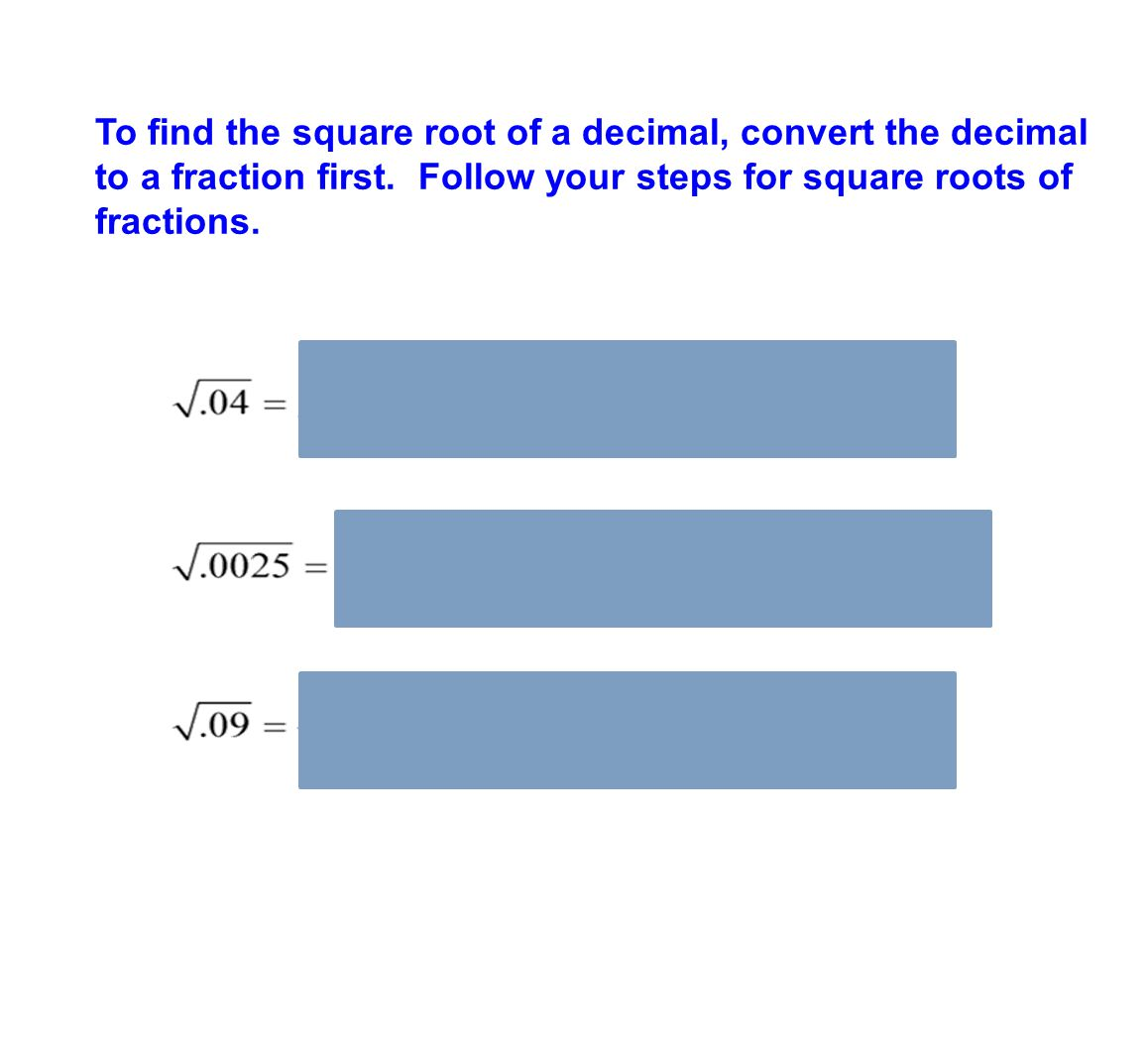 how to get square root of fraction