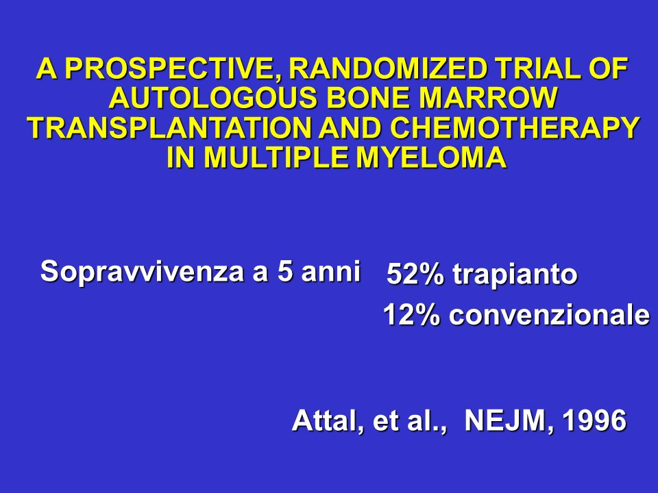 A PROSPECTIVE, RANDOMIZED TRIAL OF AUTOLOGOUS BONE MARROW TRANSPLANTATION AND CHEMOTHERAPY IN MULTIPLE MYELOMA