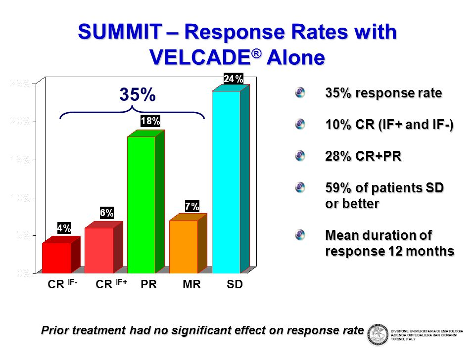 SUMMIT – Response Rates with VELCADE® Alone