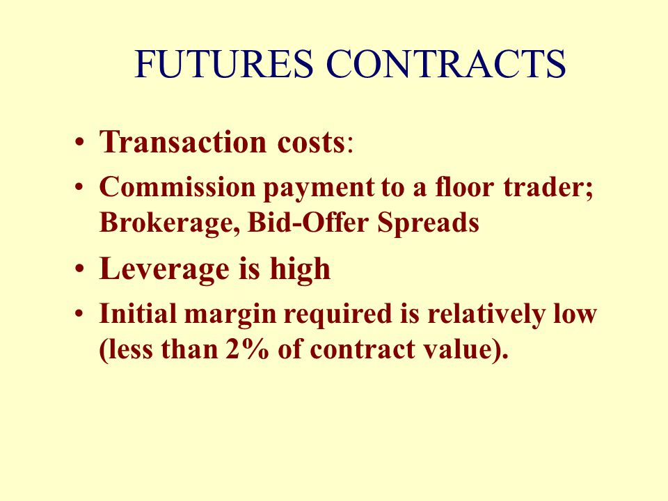 FUTURES CONTRACTS Transaction costs: Leverage is high