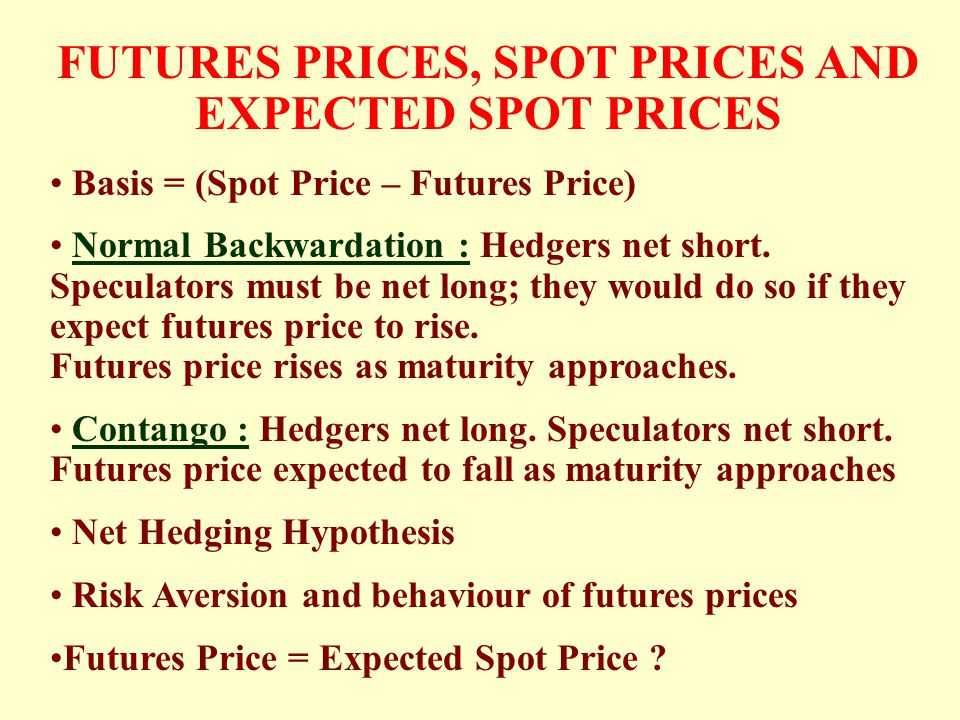 FUTURES PRICES, SPOT PRICES AND EXPECTED SPOT PRICES