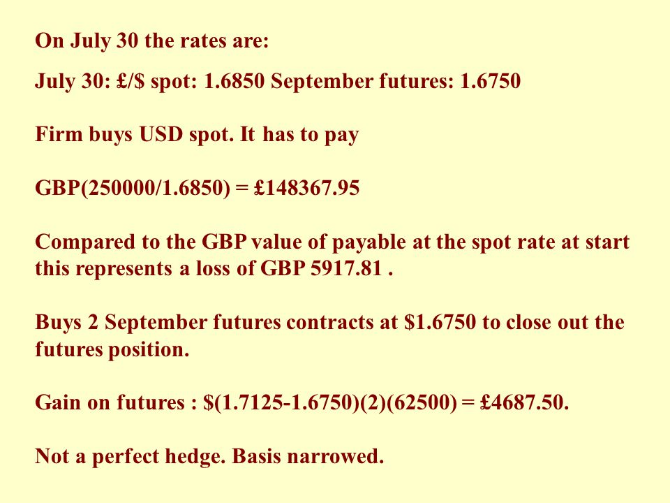 On July 30 the rates are: July 30: £/$ spot: 1.6850 September futures: 1.6750. Firm buys USD spot. It has to pay.