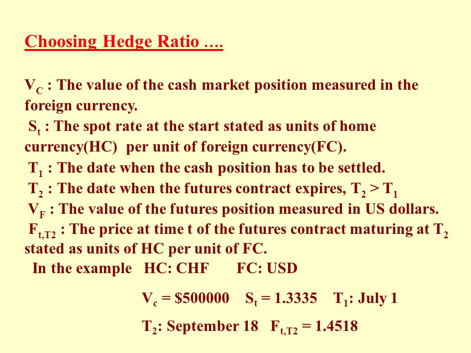 Choosing Hedge Ratio …. VC : The value of the cash market position measured in the foreign currency.
