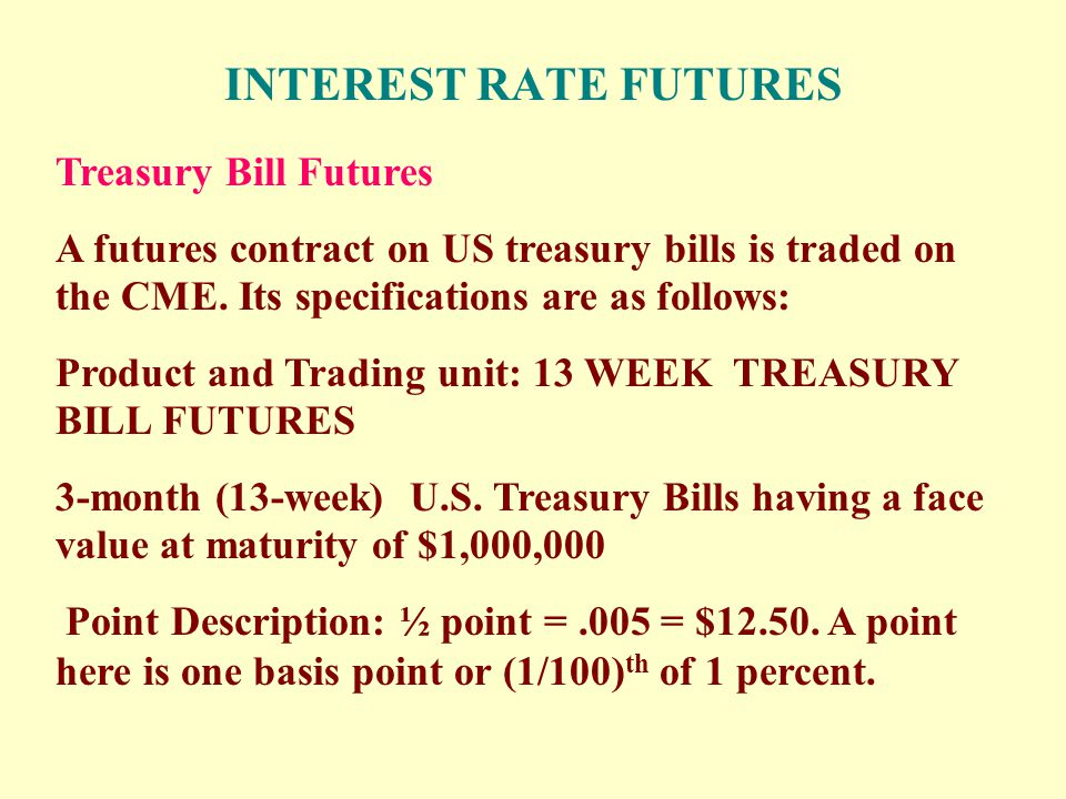 INTEREST RATE FUTURES Treasury Bill Futures