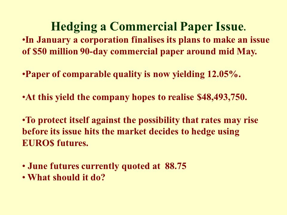 Hedging a Commercial Paper Issue.