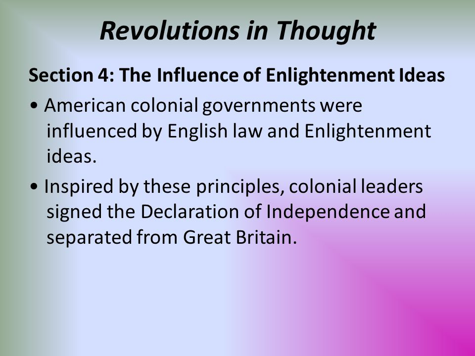 a history of the enlightenment inspired revolutions This presentation will show the connection between the ideas of the enlightenment philosophers and the establishment of the united states as an independent nation as well as the french revolution and its bloody attempt at a pure republic.
