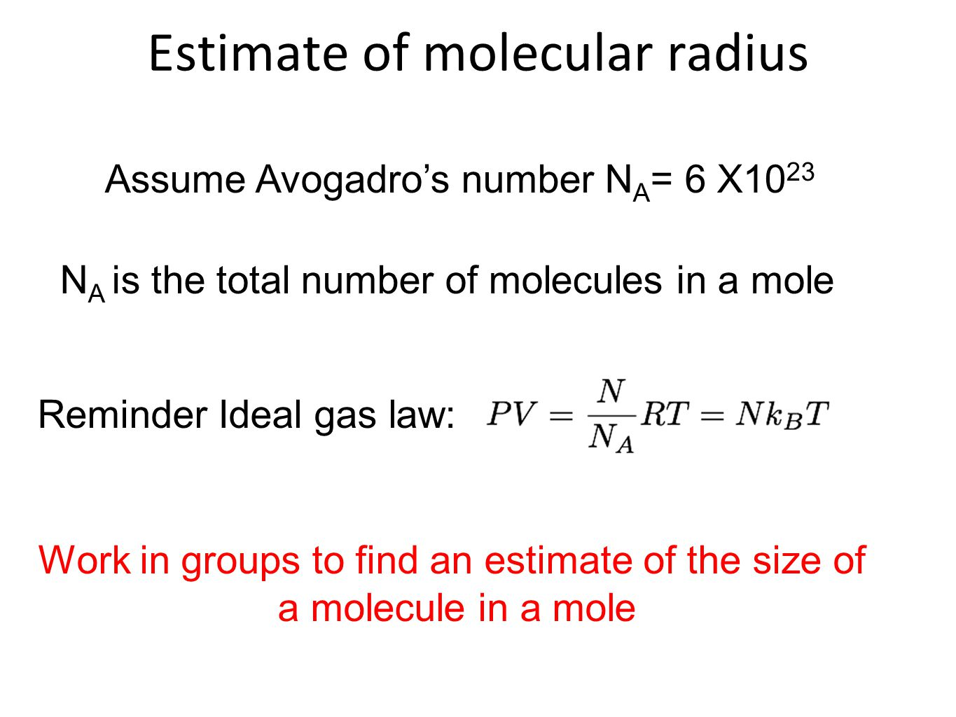 how to find number of molecules in a mole