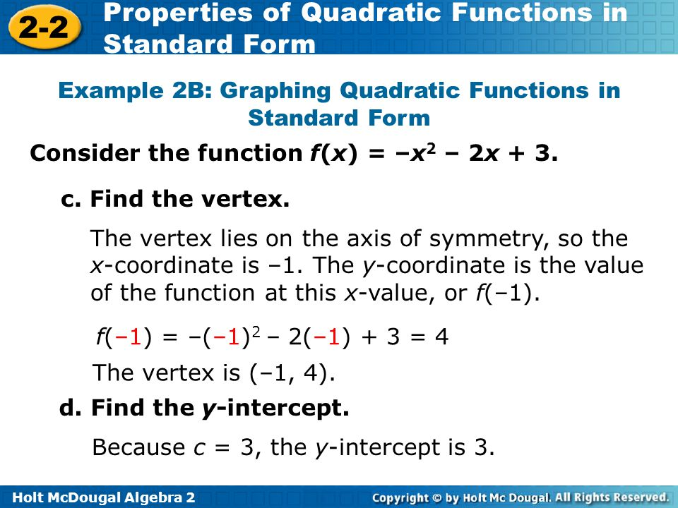 Graphing Quadratics In Standard Form Homework