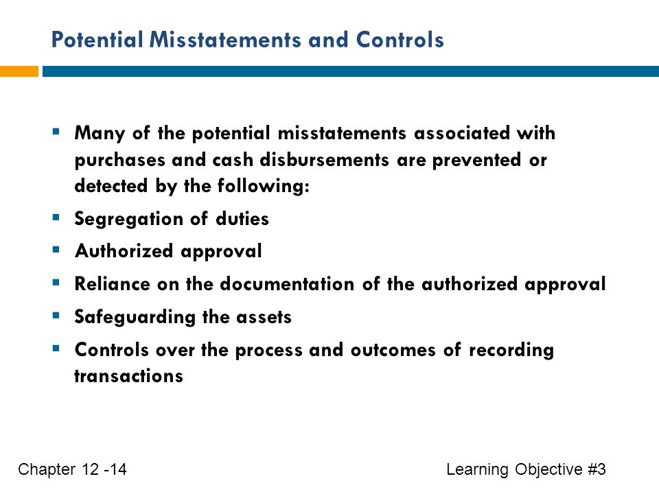 Potential Misstatements and Controls