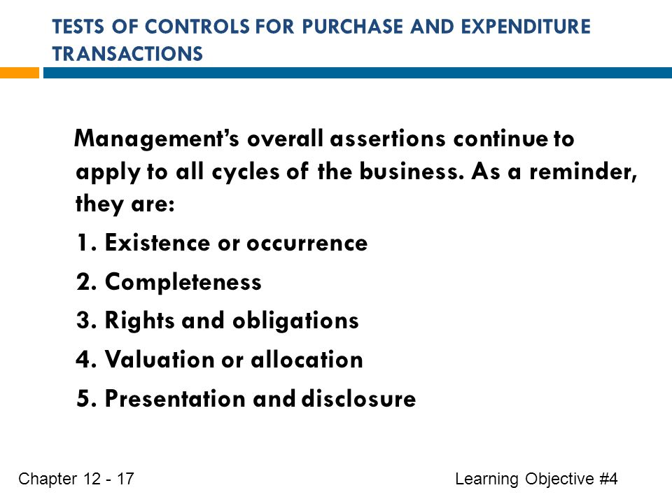 TESTS OF CONTROLS FOR PURCHASE AND EXPENDITURE TRANSACTIONS