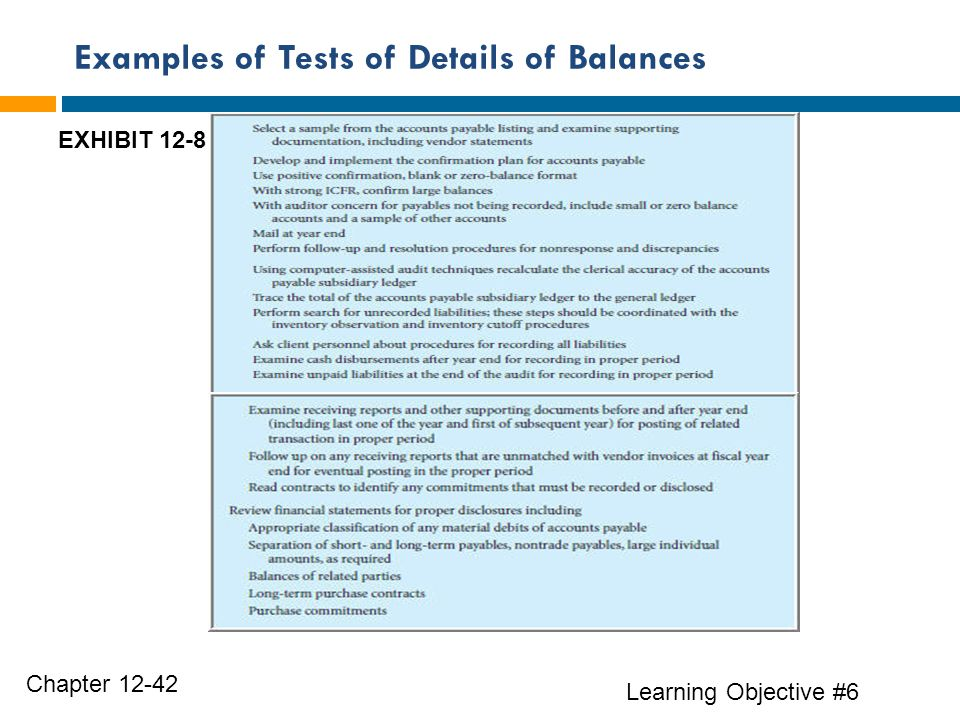 Examples of Tests of Details of Balances