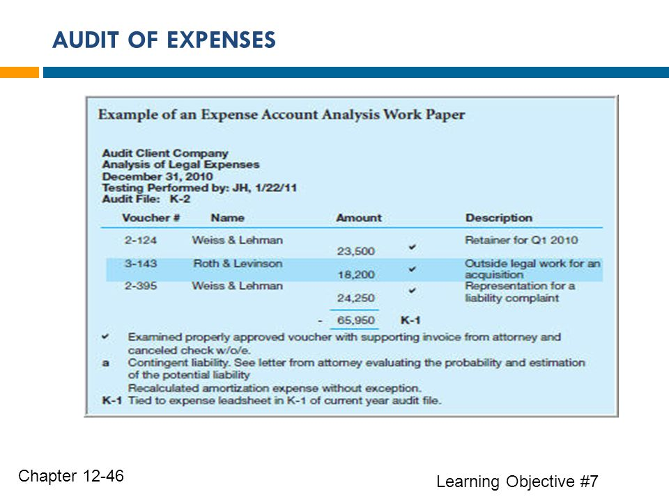 AUDIT OF EXPENSES Chapter Learning Objective #7