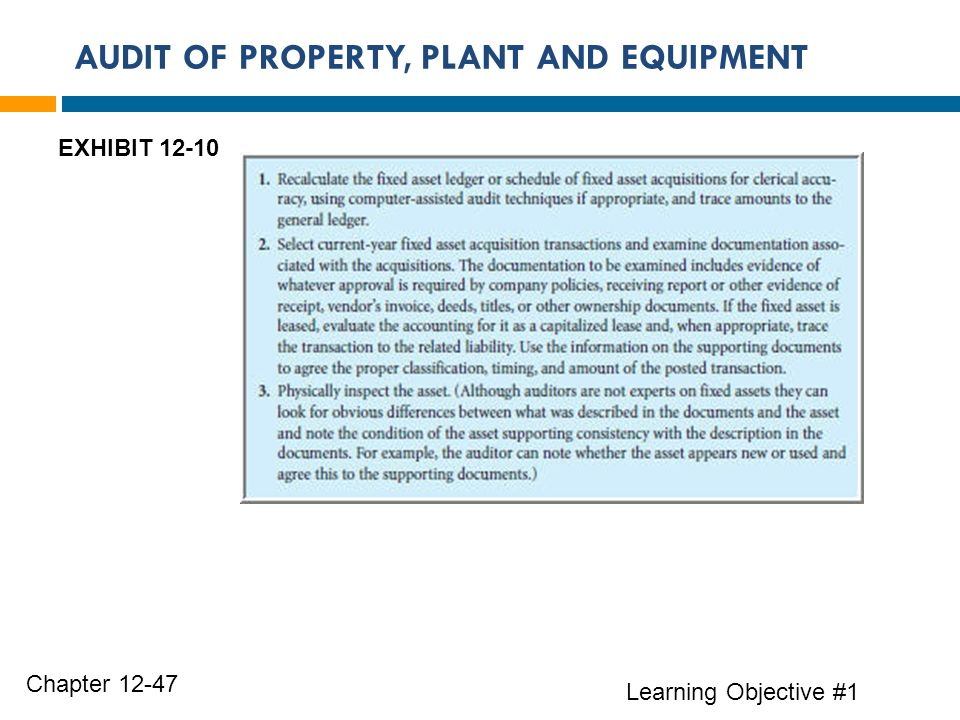 AUDIT OF PROPERTY, PLANT AND EQUIPMENT