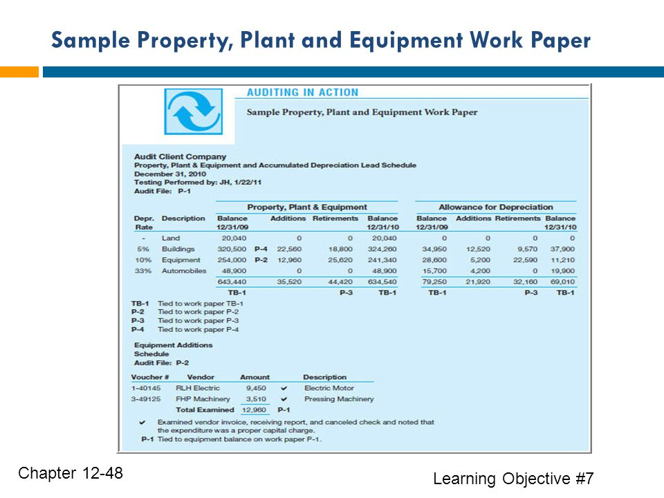 Sample Property, Plant and Equipment Work Paper