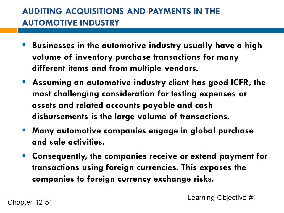 AUDITING ACQUISITIONS AND PAYMENTS IN THE AUTOMOTIVE INDUSTRY