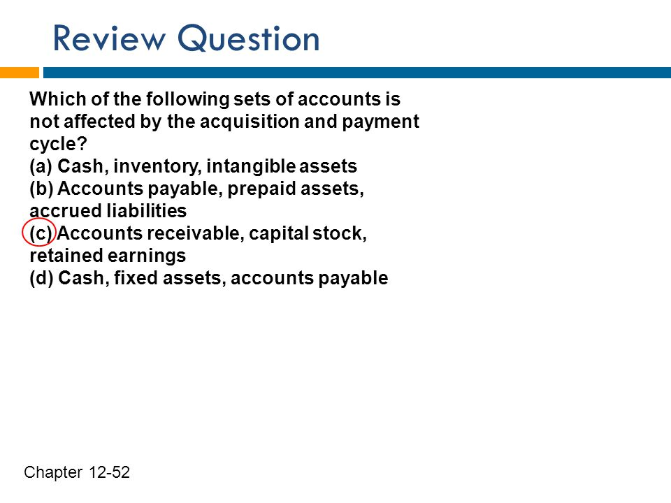 Review Question Which of the following sets of accounts is