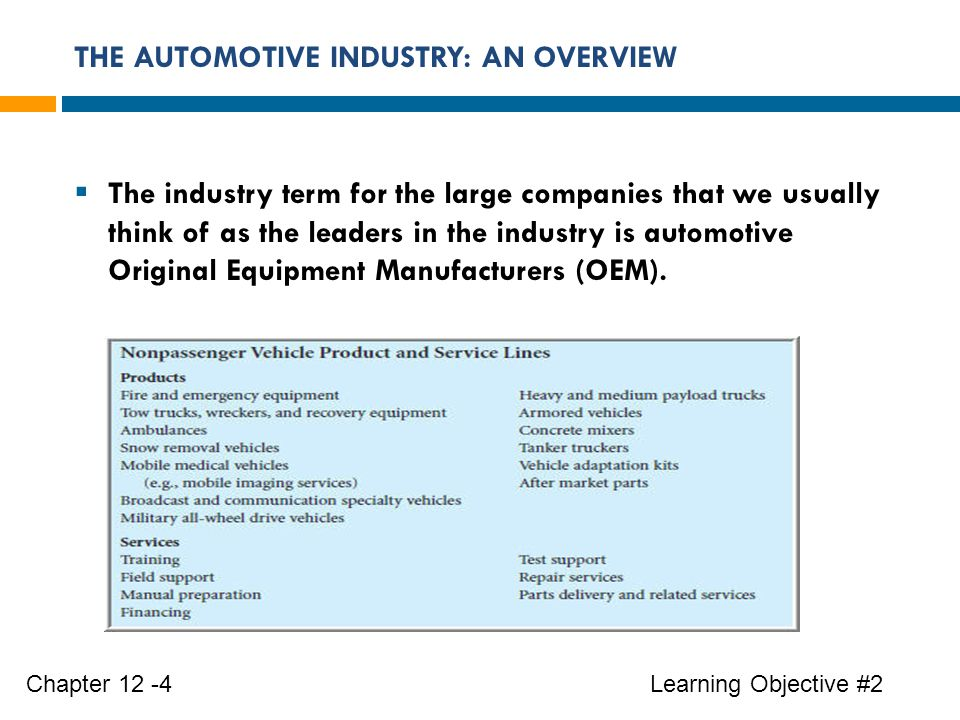 THE AUTOMOTIVE INDUSTRY: AN OVERVIEW