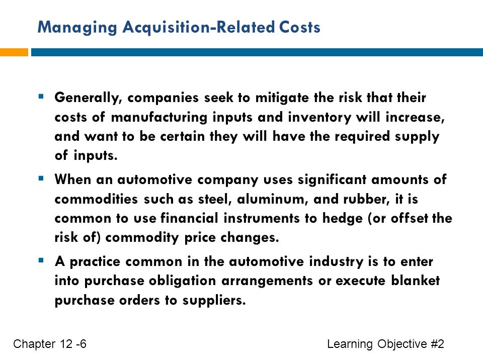 Managing Acquisition-Related Costs