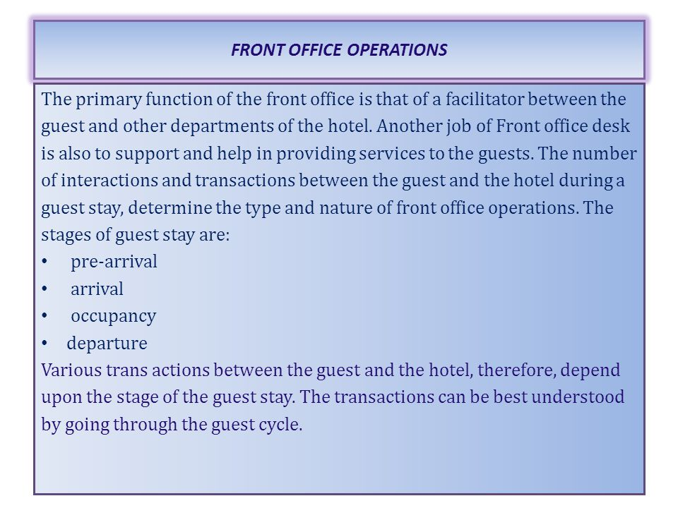 Lesson 3 front office operations maria luisa - Back office operations job description ...