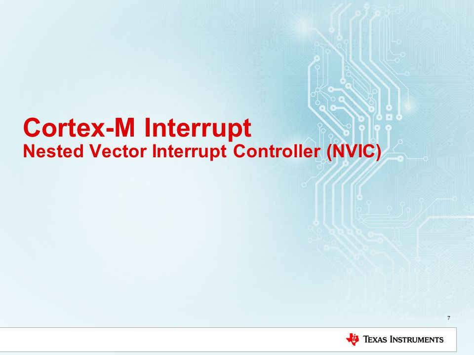 Cortex-M Interrupt Nested Vector Interrupt Controller (NVIC)