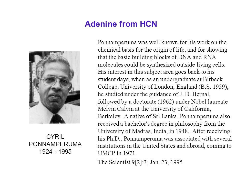 Adenine from HCN