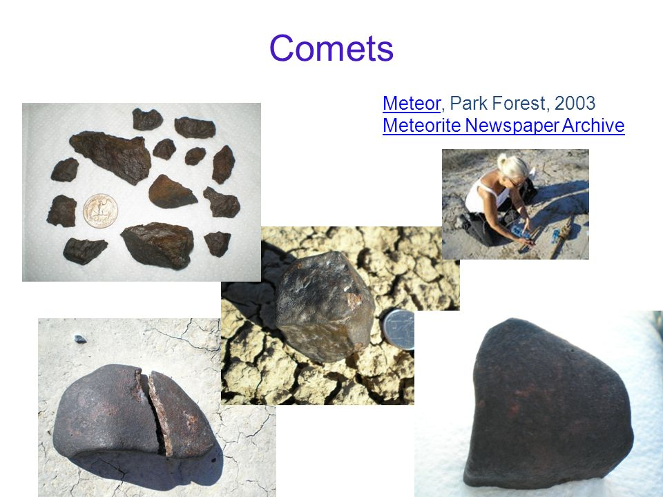 Comets Meteor, Park Forest, 2003 Meteorite Newspaper Archive