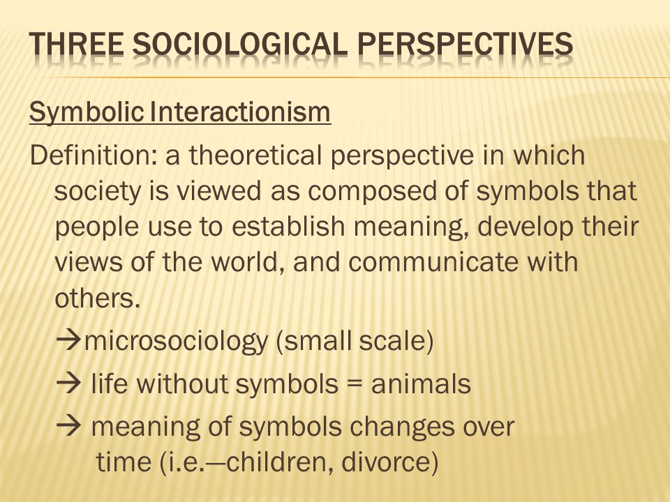 examine different sociological views on the In short, a sociological perspective or model presents an assumption made about  society a model is developed through a process in which different types of.