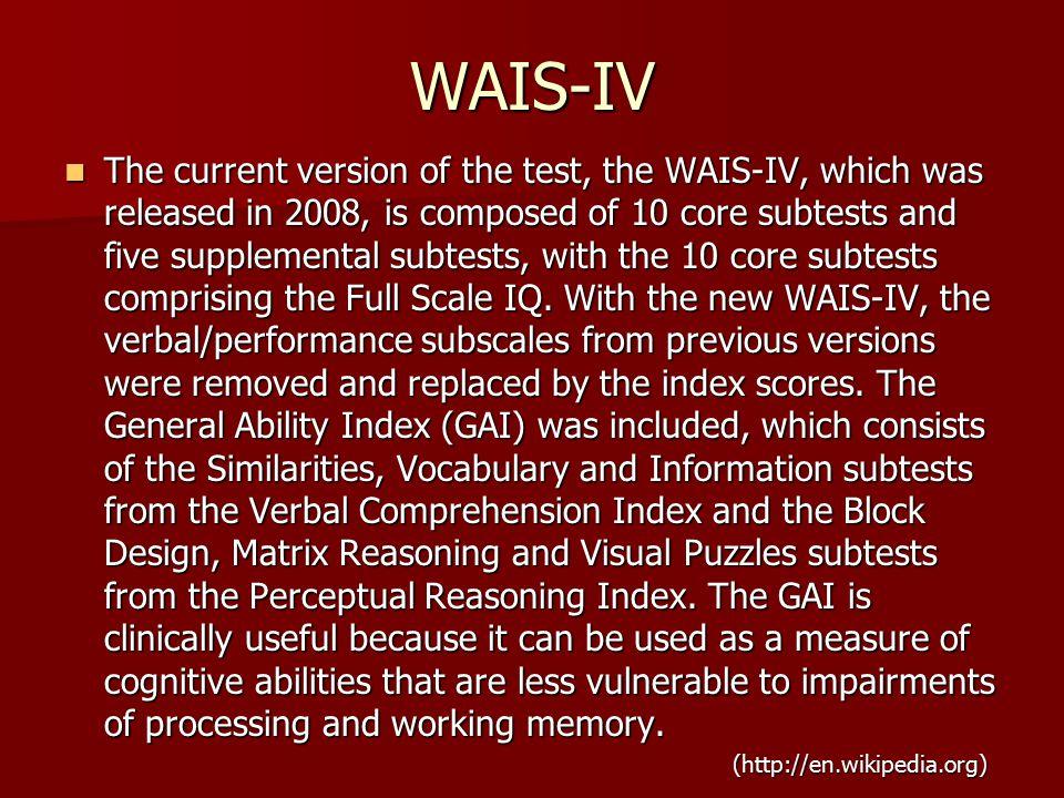 wechsler adult intelligence scale fourth edition wais iv • possibilitàdisostituiretestfondamentali#con#test#supplementari,#ovevifossenecessità# percalcolarelascalatotale# • subtest#di#comprensione#verbale#e#di#ragionamento#visuo8percettivo,quando.