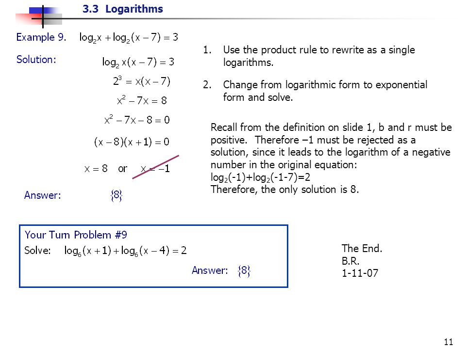 sunbright re write as a logarithmic equation