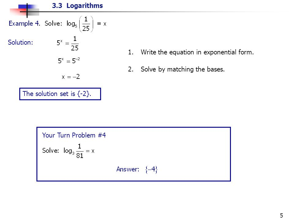 Convert Logarithms and Exponentials