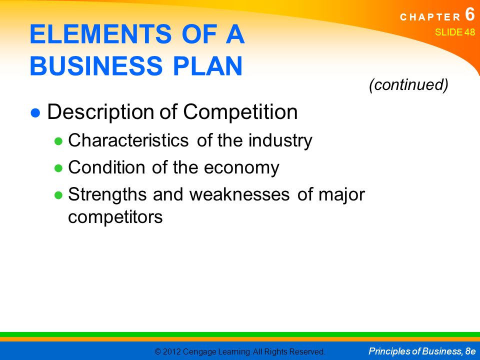 The elements of a business plan