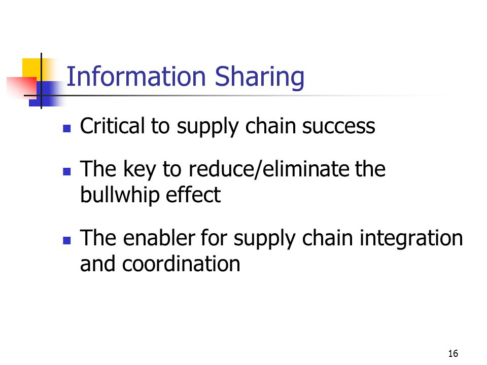 information sharing for the bullwhip effect From the above information it is clear enough that all the factors or elements resulting in bullwhip effect originate from a common ground ie information sharing it is evident enough that the lack of information and interaction between different stages evolve bullwhip in the system thereby plaguing the whole supply chain.
