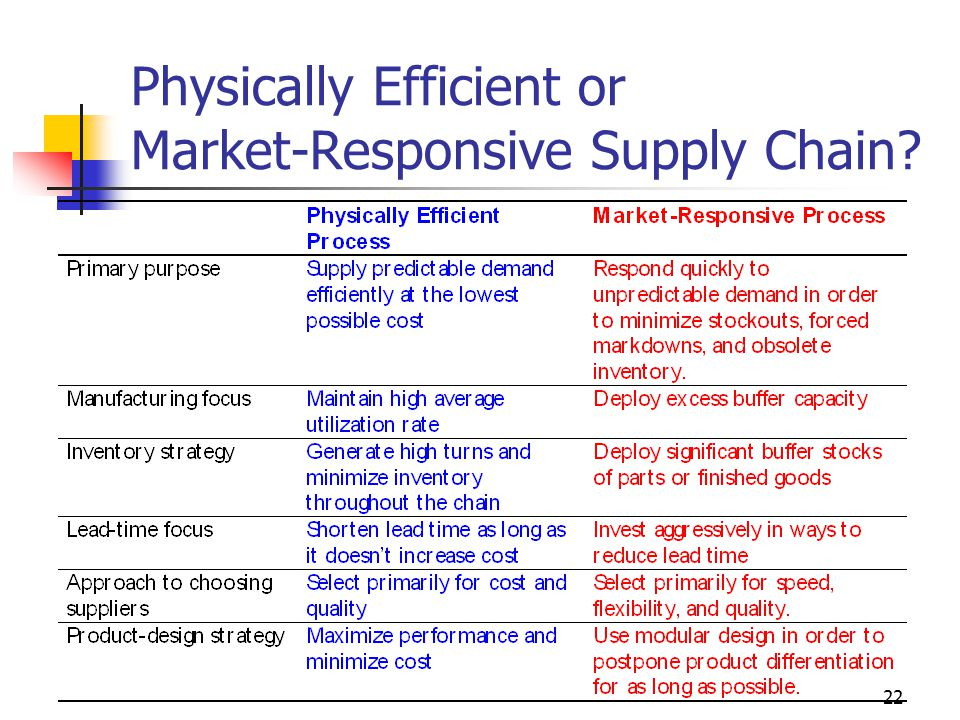 Physically Efficient or Market-Responsive Supply Chain