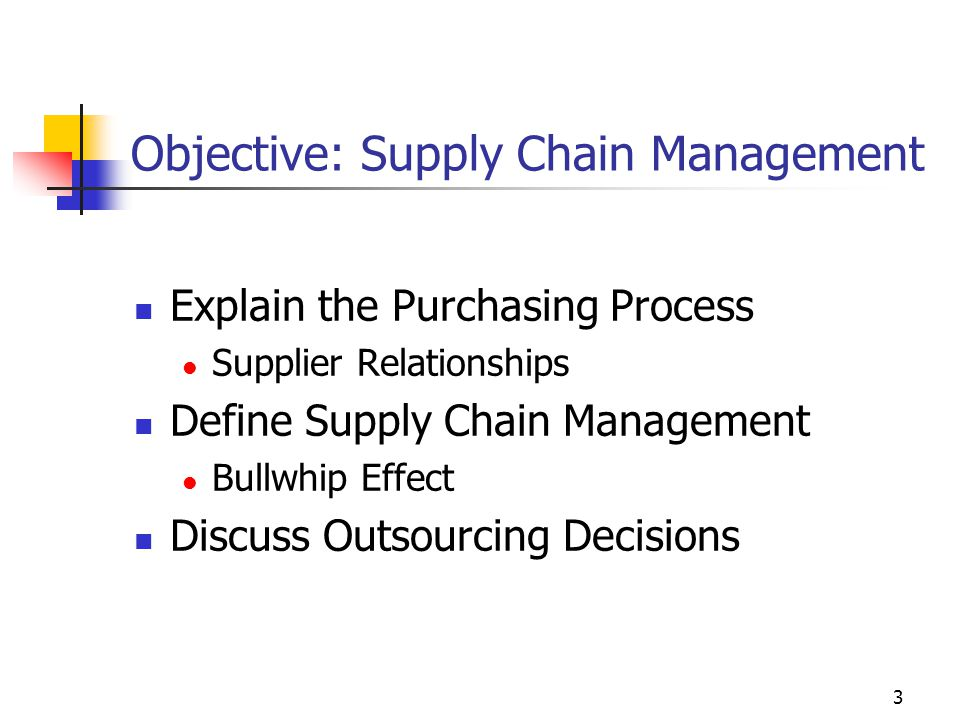 Objective: Supply Chain Management