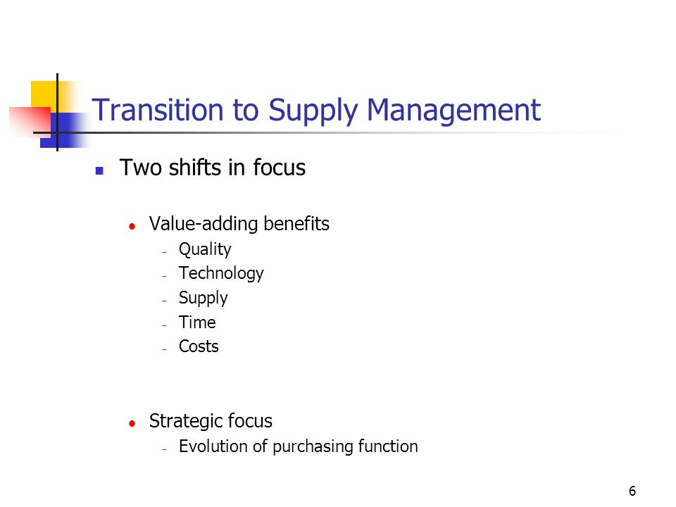 Transition to Supply Management