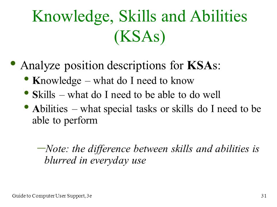 Difference knowledge and skills
