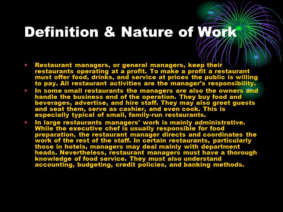 Definition & Nature of Work