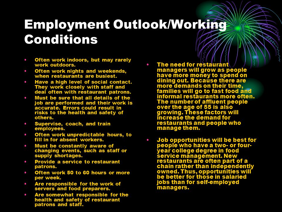 Employment Outlook/Working Conditions
