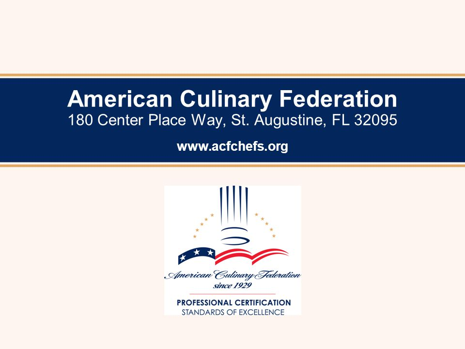 Acfchefs Certify Personal Certified Executive Chef