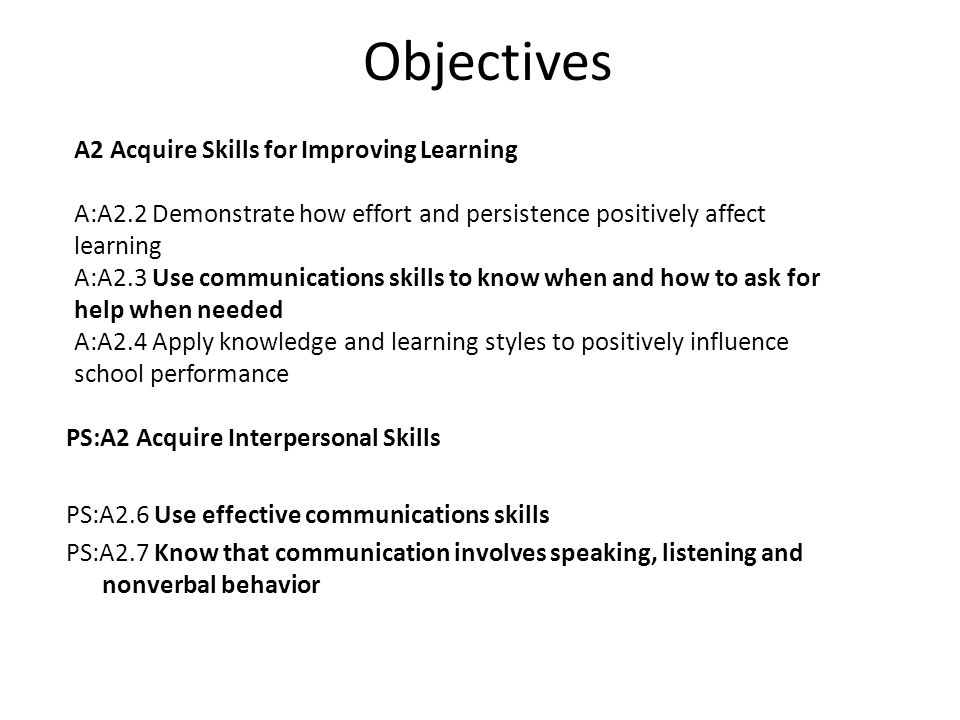 Objectives A2 Acquire Skills for Improving Learning