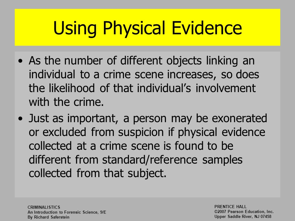 an introduction to the importance of relevant evidence in crime For example, the study of the victim, or victimology is an important component of crime scene analysis it provides context and understanding in the process of interpreting a crime scene, especially those that are staged this is often the case in murders, and is called an equivocal death investigation.