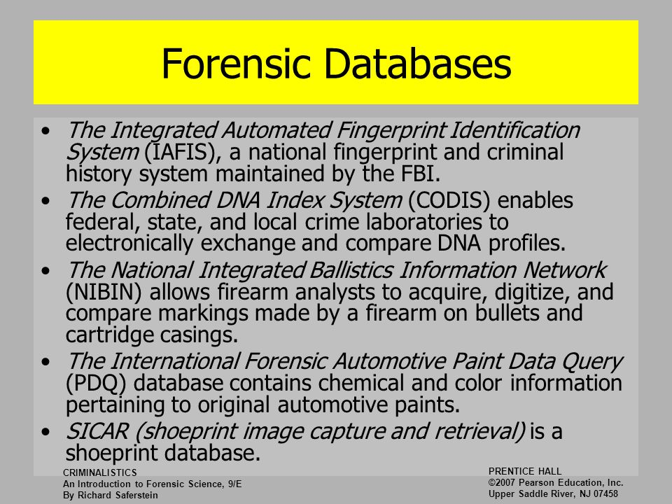 criminalistics what is nibin essay The incumbent also performs fingerprinting, booking and related procedures to provide criminalistics support for the douglas county sheriff's department and other law enforcement agencies.