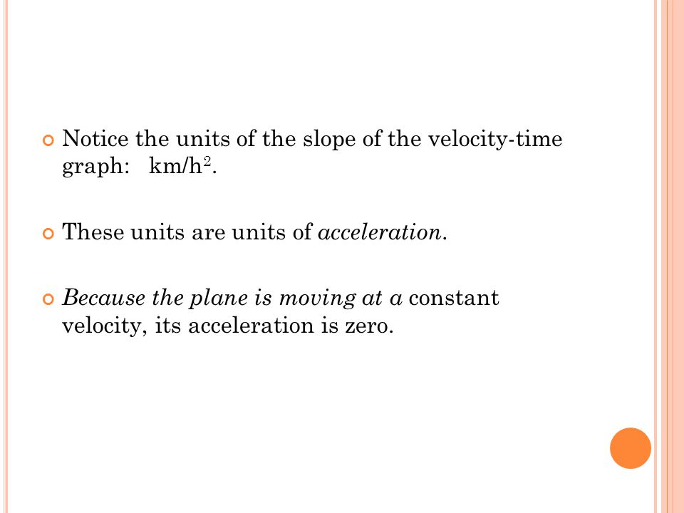 Notice the units of the slope of the velocity-time graph: km/h2.