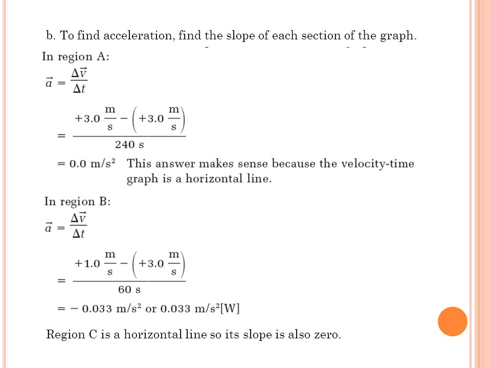 b. To find acceleration, find the slope of each section of the graph.