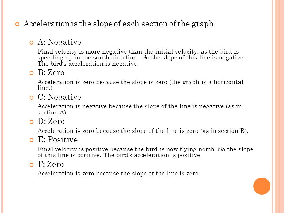 Acceleration is the slope of each section of the graph. A: Negative